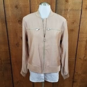 Trouve jacket satin layered womens M beige zipper